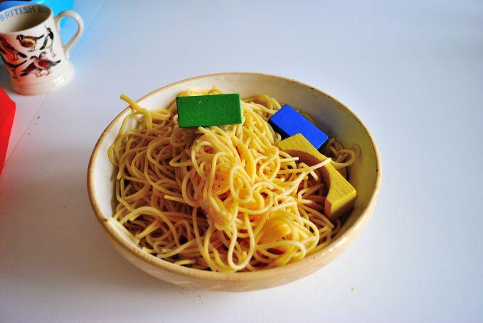 Sensory Toddler Activity: Spaghetti Lucky Dip