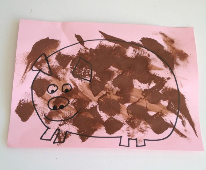 Sponge Mud Pigs Preschooler Craft