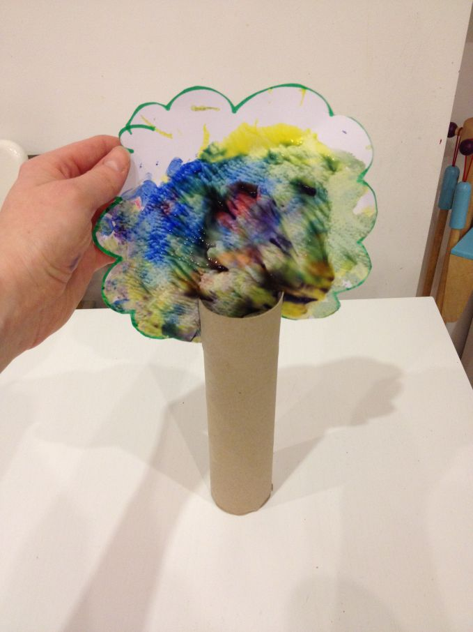 Rainbow Finger Paint Trees