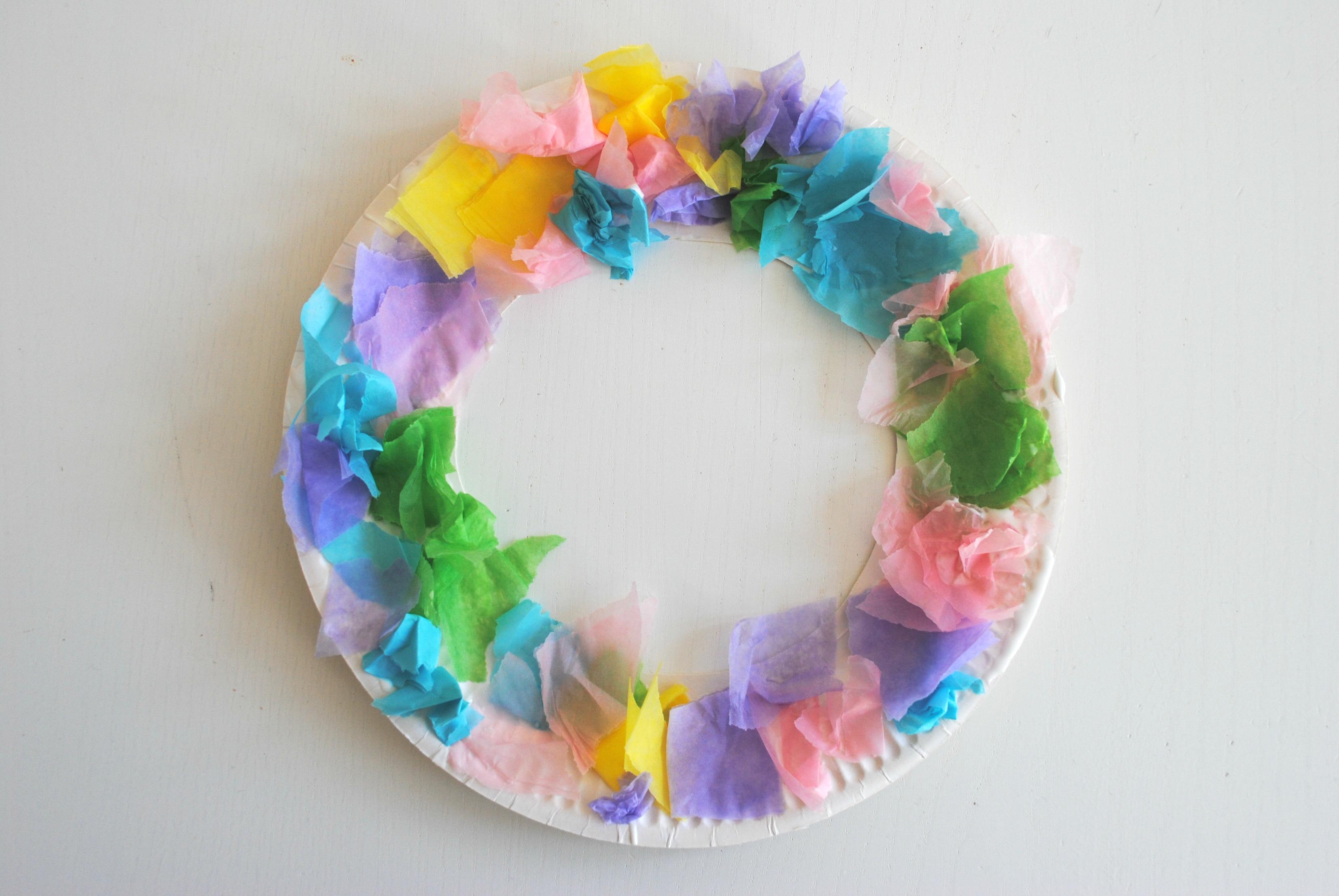 Easy Easter Tissue Paper Wreaths