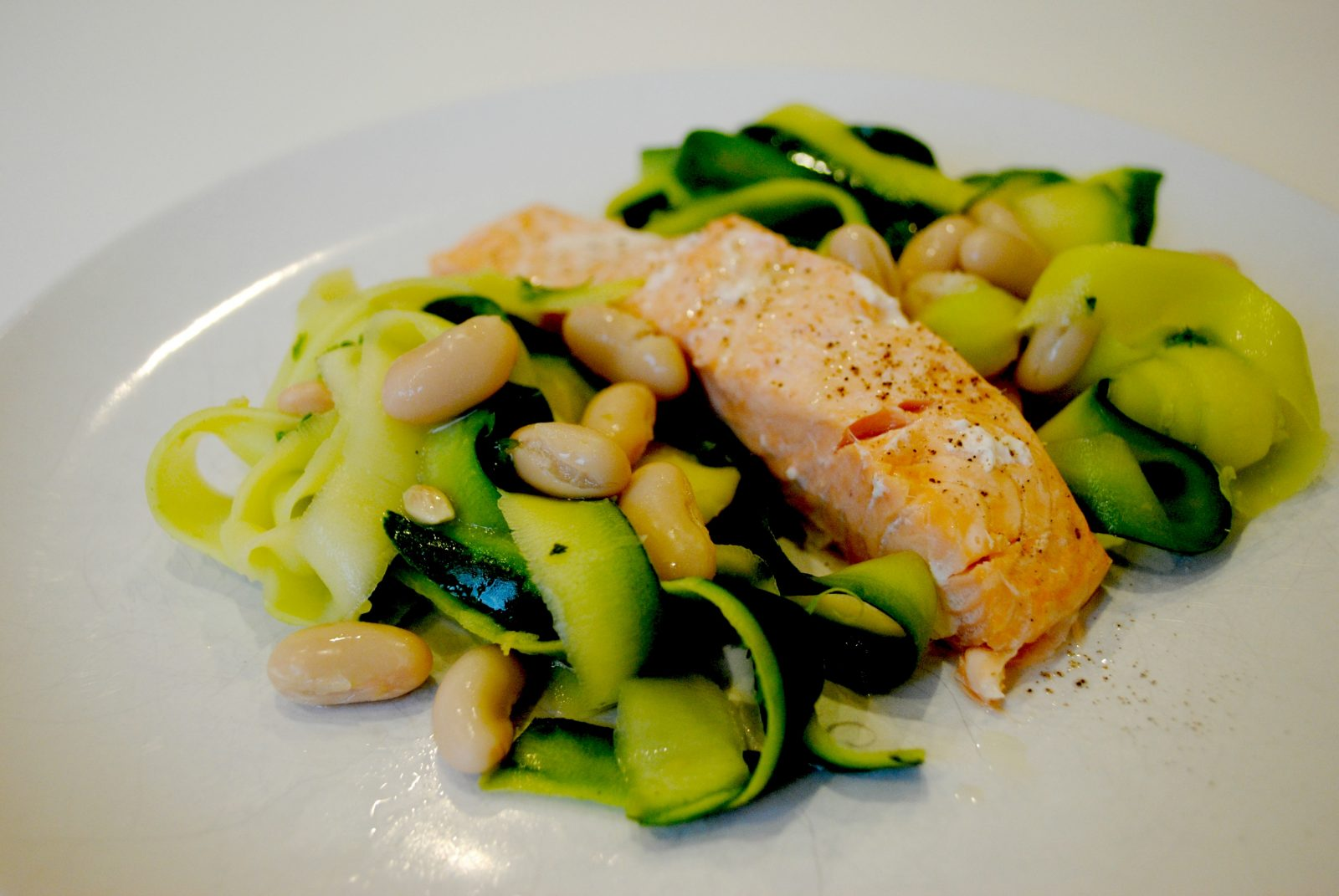 Baked Salmon Fillets with Courgette Ribbons, Cannellini Beans & Lemon Oil Dressing