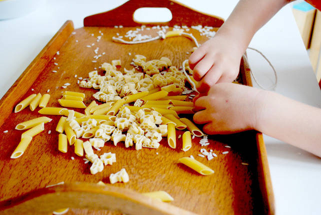 Montessori Rice Pouring & Pasta Threading