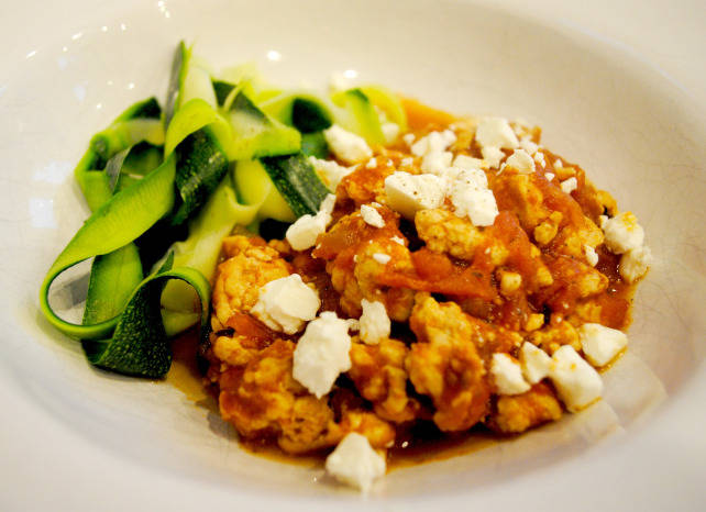 low-carb turkey bolognese, feta & courgette ribbons