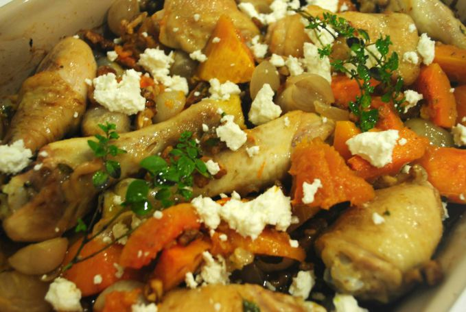 Baked Chicken and Butternut Squash with Goats Cheese and Walnuts