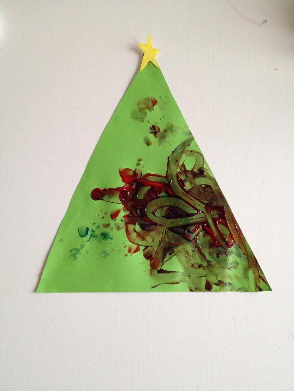 Finger paint Christmas Trees