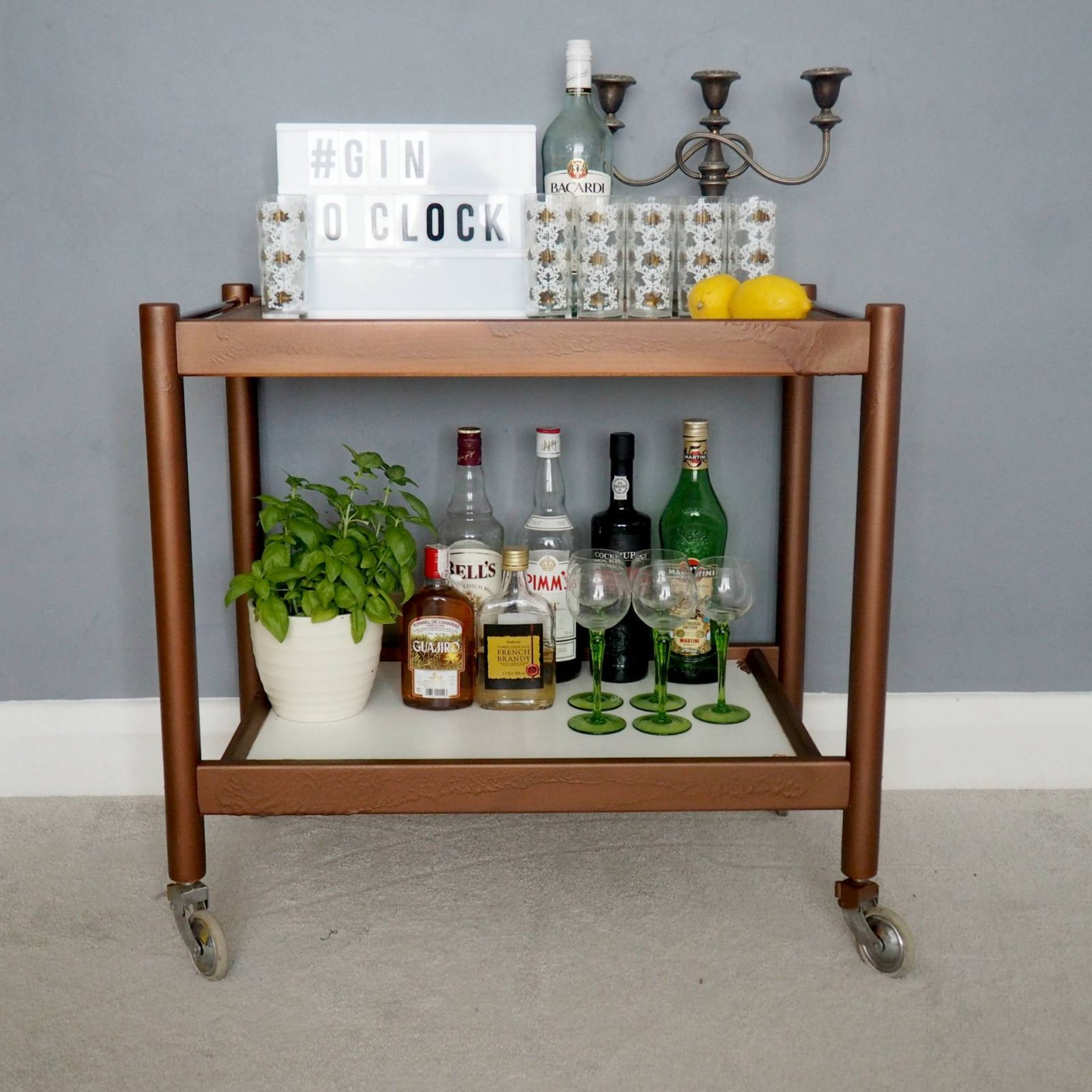 DIY Copper Drinks Trolley Makeover
