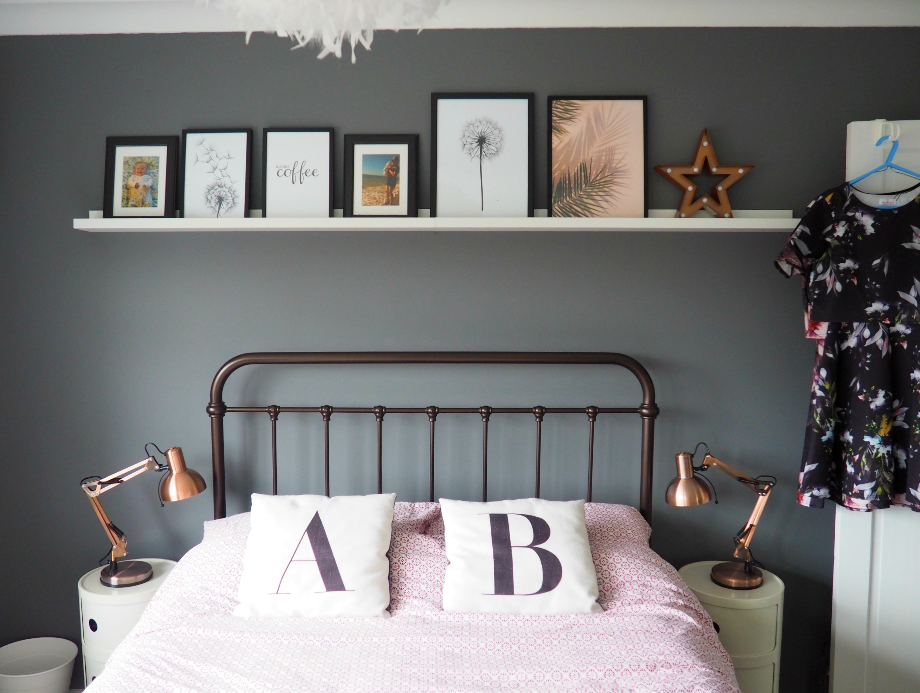 grey bedroom copper lights