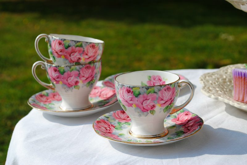 Floral tea cup on table