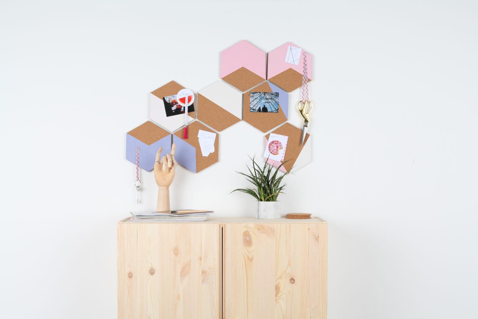 DIY Colourful Hexagon Cork Boards