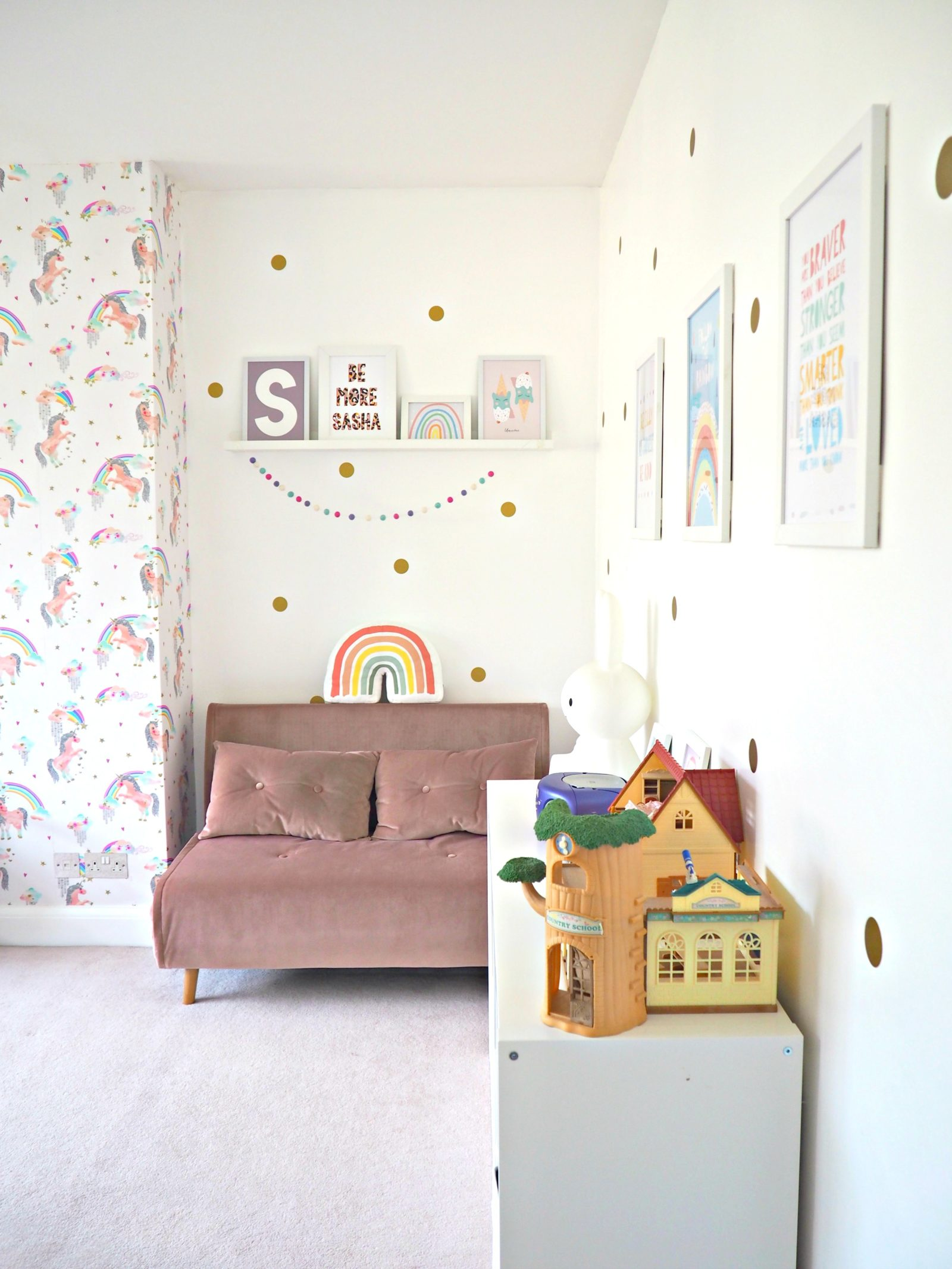 Sasha's new Rainbow and Unicorn Bedroom