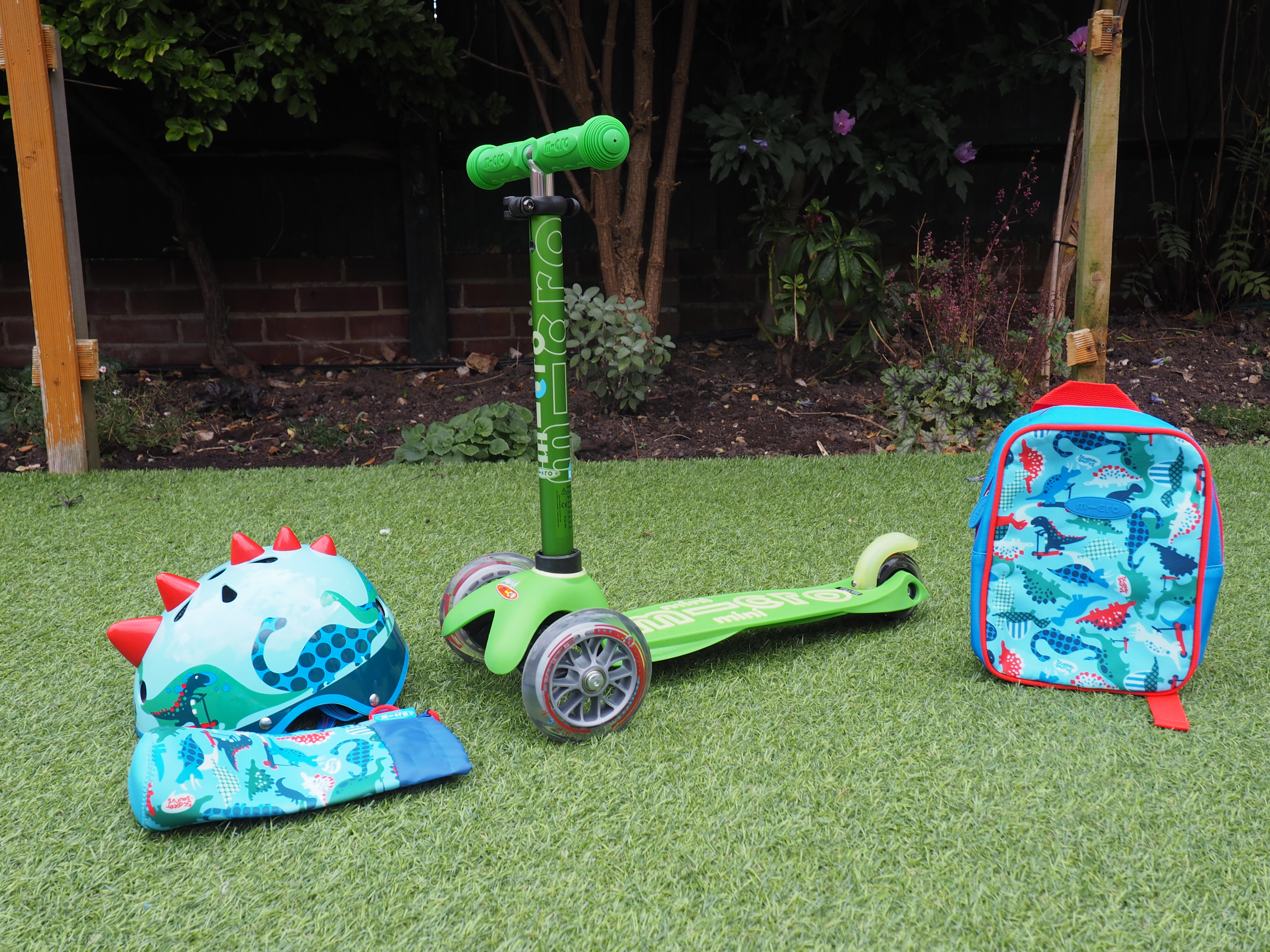 Green Mini Micro Duluxe scooter for 2 year old