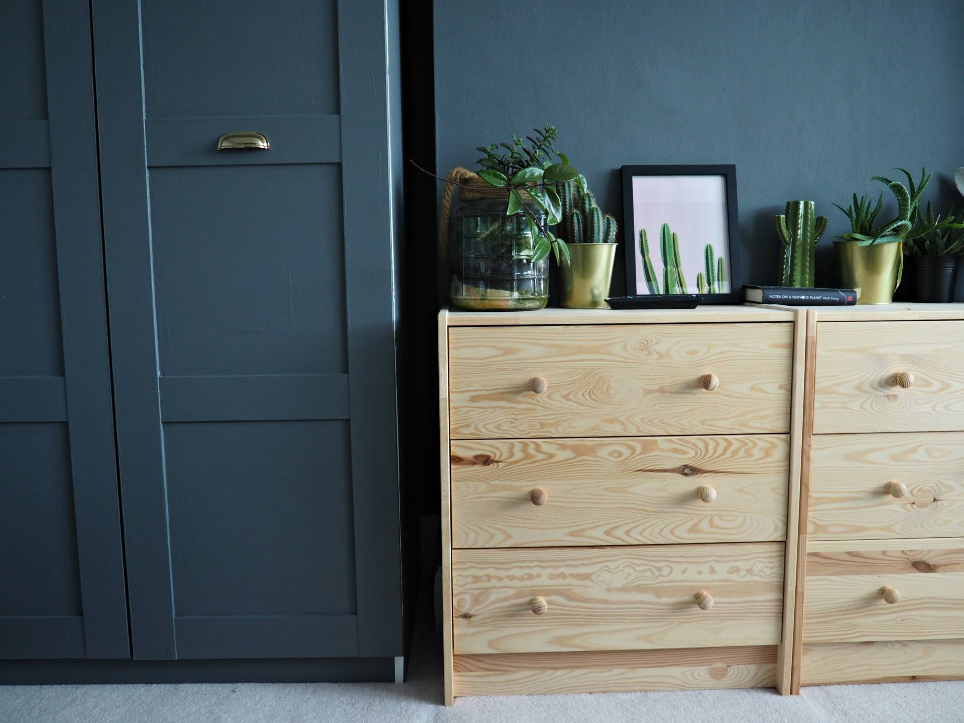 Dark grey Ikea Pax wardrobes