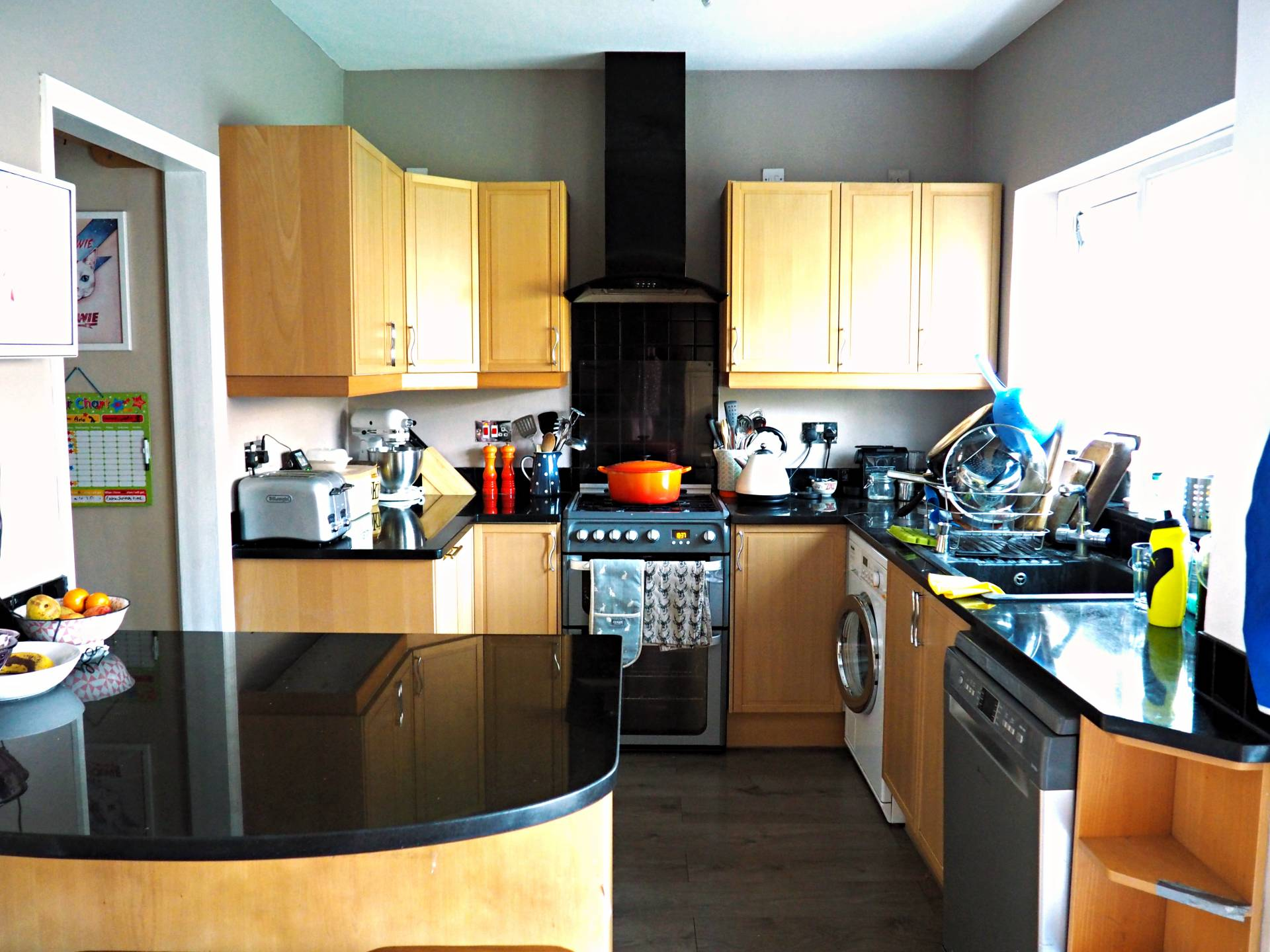 wood ikea kitchen black granite worktops